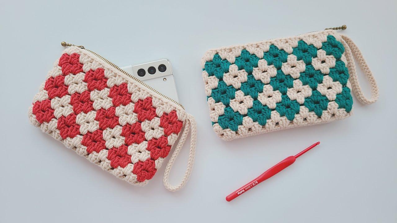 Crochet Clutch Bag With Zipper