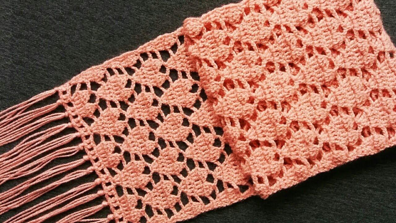 Crochet Heart Stitch Scarf or Shawl