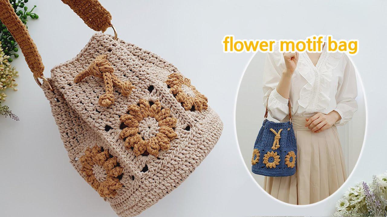 Flower Motif Bucket Bag Free Crochet Pattern