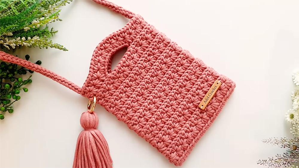 Crochet Star Stitch Cross Bag or Pouch