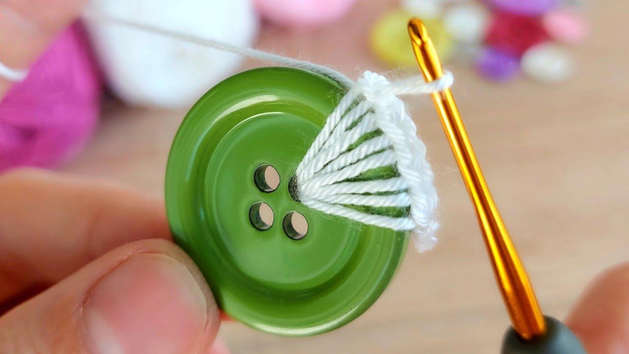 Super Easy Crochet Button Heart Keychain Tutorial