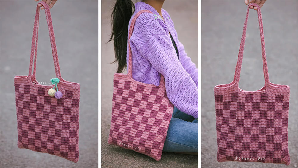 Easy Crochet Checkered Tote Bag Pattern